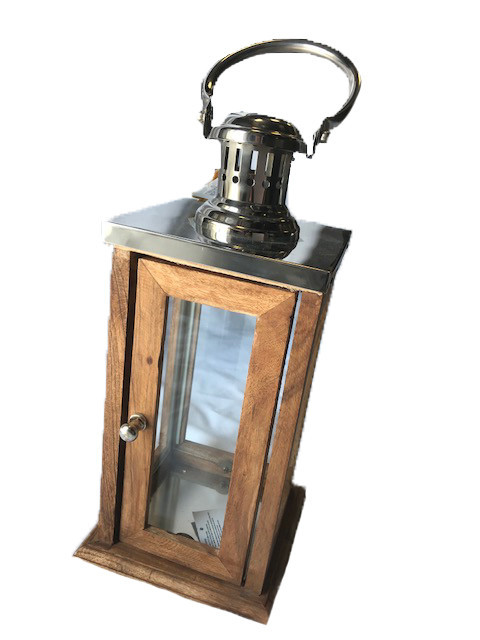 "15"" Wooden Chrome Lantern"