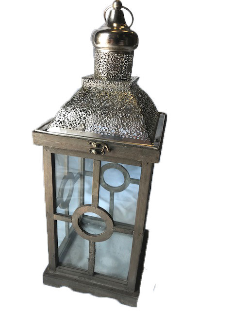 "24"" Antique Wood/Chrome Lantern with Detail"