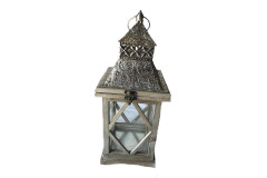 "15"" Antique Wood/Chrome Lantern with Detail"