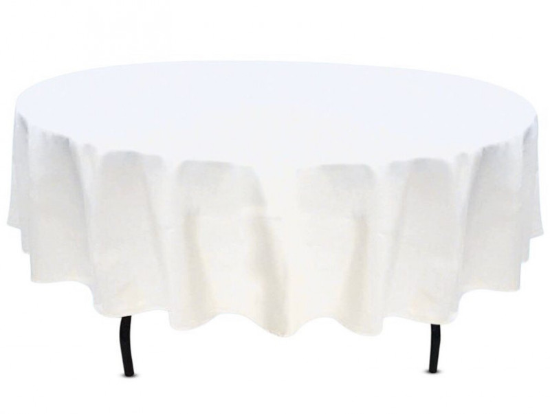 60 inch round table linen in white