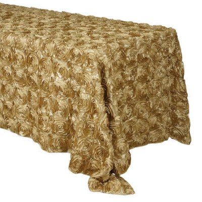 """Rosette 90""""x132"""" Rectangular 6ft Tablecloth picture 1"""