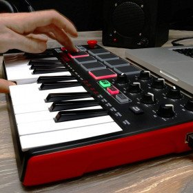 keyboard and drum pad controller with joystick