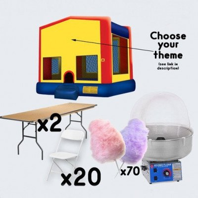 Bounce House and Cotton Candy Machine with 2 Tables and 20 Chairs - adult picture 1