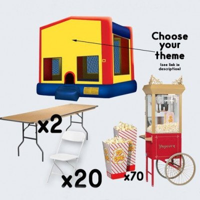 Bounce House and Popcorn Cart with 2 Tables and 20 Chairs - adult picture 1