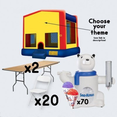 Bounce House and Sno-Cone with 2 Tables and 20 Chairs - adult picture 1