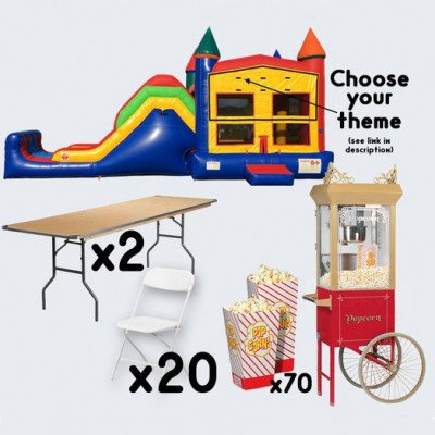 Super Combo Inflatable and Popcorn Cart with 2 Tables and 20 Chairs - adult picture 1