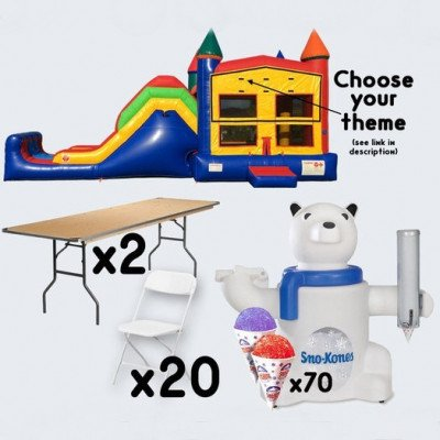 Super Combo Inflatable and Sno-Cone Machine with 2 Tables and 20 Chairs - adult picture 1