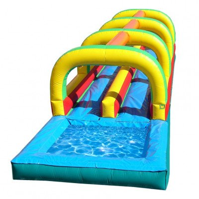 30' Dual Lane Slip'n Inflatable Slide with Pool picture 1