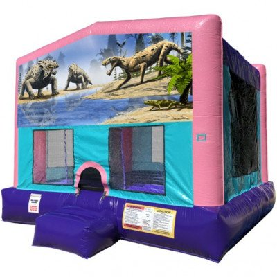 Dinosaurs Inflatable Bouncer - Sparkly Pink Edition picture 1