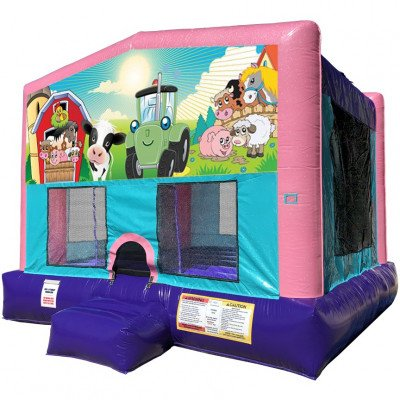 Barnyard Farm Inflatable Bouncer - Sparkly Pink Edition picture 1