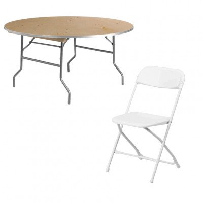 1 - 60 Inch Round Table with 10 White Chairs picture 1