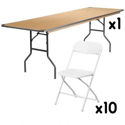 1 - 8 Foot Rectangular Tables with 10 White Chairs picture 1