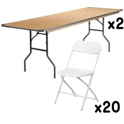 2 - 8 Foot Rectangular Tables with 20 White Chairs picture 1
