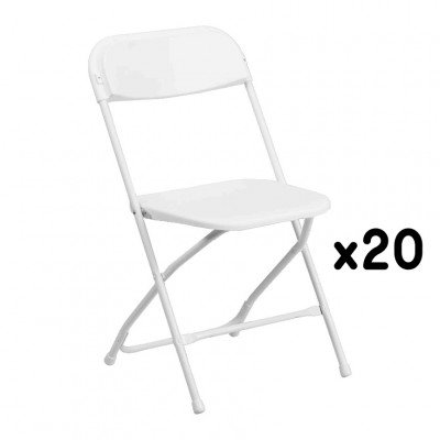 20 White Folding Chairs picture 1
