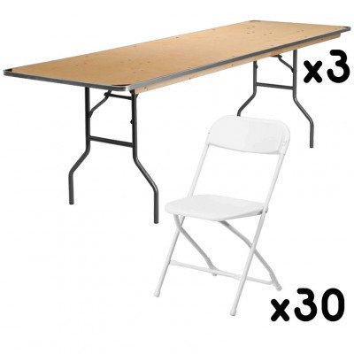 3 - 8 Foot Rectangular Tables with 30 White Chairs picture 1