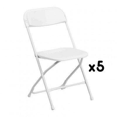 5 White Folding Chairs picture 1