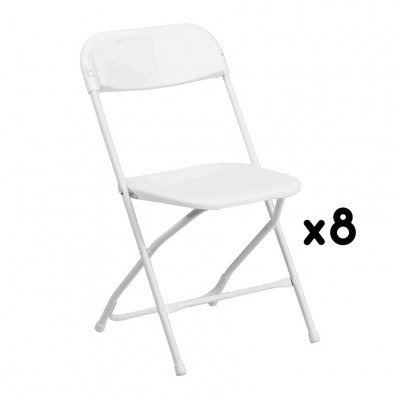 8 White Folding Chairs picture 1