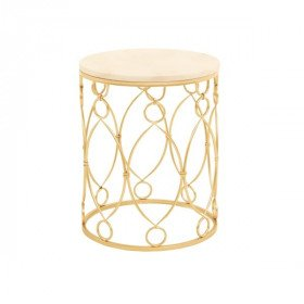 Gold Lattice and Marble Side Table
