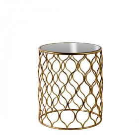 Gold and Glass Eyelet Side Table