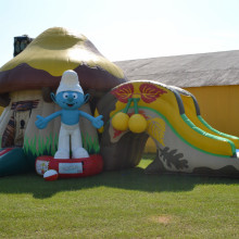 Smurf House Inflatable Combo