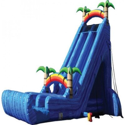big blue inflatable slide