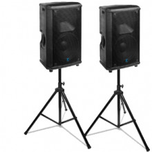 Yorkville powered speaker with stand