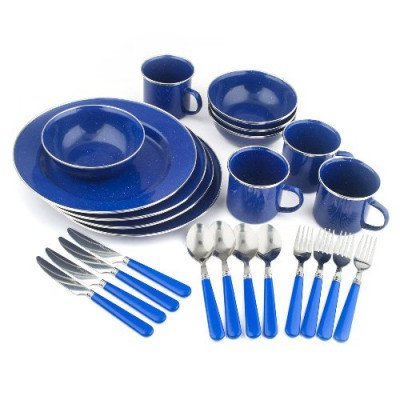 24-piece enamel camping tableware set picture 2
