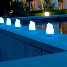 Portable event lights with remote lighting color control