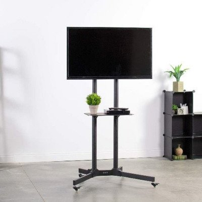 black rolling tv cart