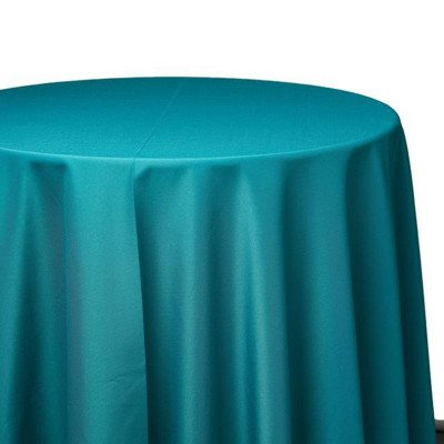 120 inch Round Teal Poly Tablecloth picture 1