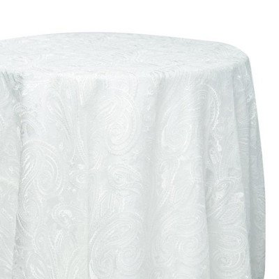 120 inch Round White Paisley Lace Tablecloth picture 1