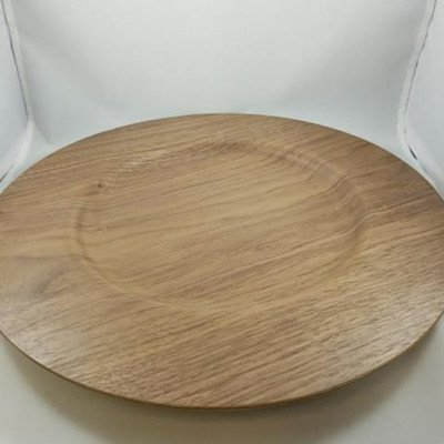 "13-1/2"" Round Walnut Wood Charger picture 1"