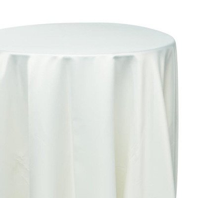 132 inch Round Ivory Satin Tablecloth picture 1