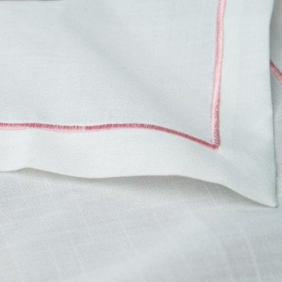 White-Pink Embroidered Poly Napkin Pack of 12 picture 1