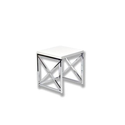"""White With Chrome End Table 17"""" picture 1"""