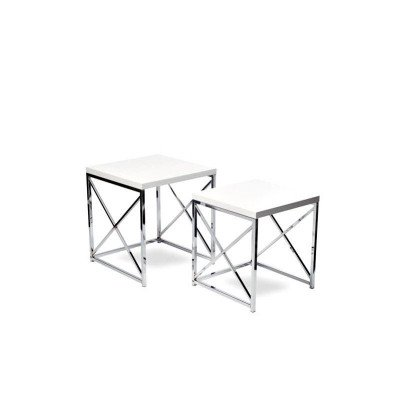 """White With Chrome End Table 17"""" picture 2"""