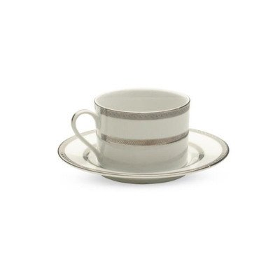 White with Silver Rim Cup and Saucer - 20 per Rack picture 1