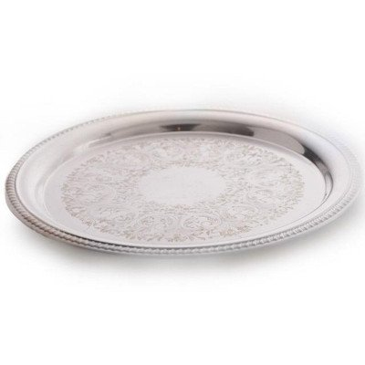 16 inch Round Rope Edge Silver Tray picture 1