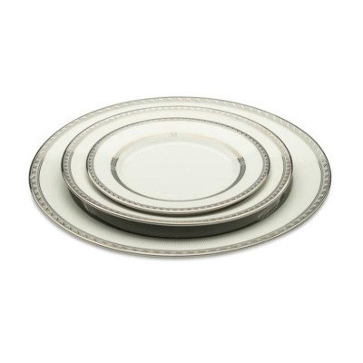 White with Silver Rim Dinner Plate - 20 per Rack picture 1