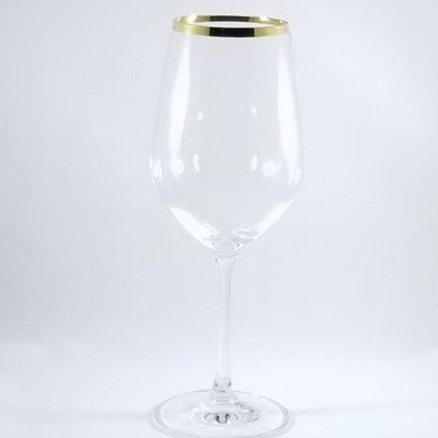 13 ounce Gold Rim Wine Glass Rack of 25 picture 1