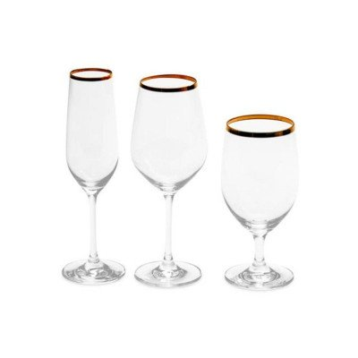 13 ounce Gold Rim Wine Glass Rack of 25 picture 2