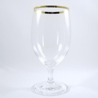 15 ounce Gold Rim Water Goblet Glass Rack of 25 picture 1