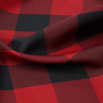 8 foot Red Buffalo Check Full Length Poly Tablecloth picture 1