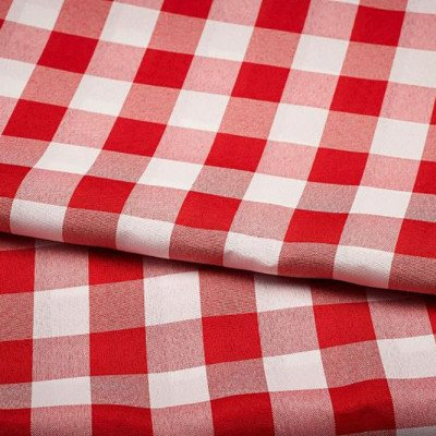 8 foot Red-White Check Full Length Poly Tablecloth picture 1