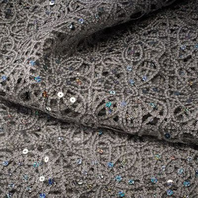 90 x 90 inch Silver Sparkle Lace Tablecloth picture 1