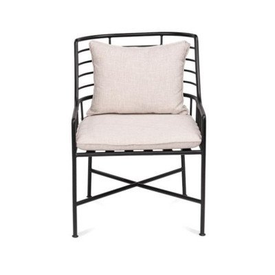 Breton Metal Chair With Ivory Cushions picture 1