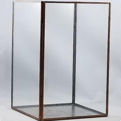 Glass and Brass Display Box 8x8x10 picture 1