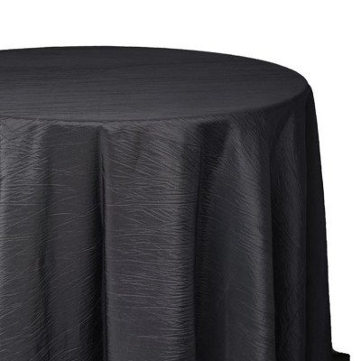 120 inch Round Black Crinkle Tablecloth picture 1