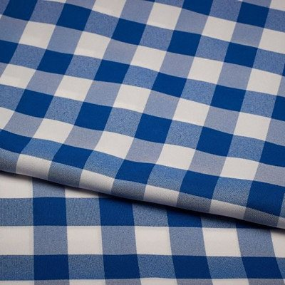 120 inch Round Blue-White Check Poly Tablecloth picture 1
