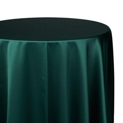 120 inch Round Hunter Green Satin Tablecloth picture 1